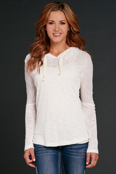 Cowgirl Up Light Weight Pullover Hoodie w/ Crochet Lace Back Trim