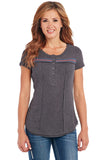 Cowgirl Up Short Sleeve Henley w/ Crochet Inserts & Raw Edging