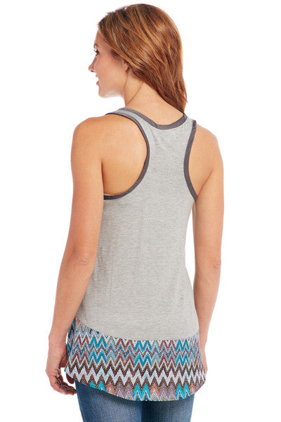Cowgirl Up Racer Back Tank w/ Geometric Chiffon Trim