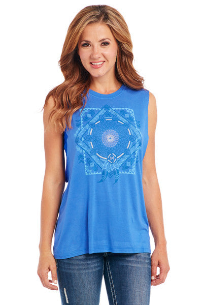 Cowgirl Up Sleeveless Top w/ Foil Print & Raw Edging