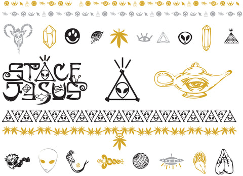 Space Jesus Flash Tattoos