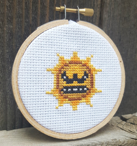 Angry Mario Sun - Cross Stitch Kit