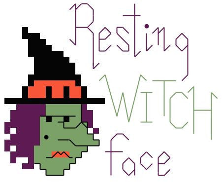 Resting Witch Face - FREE Cross Stitch Pattern