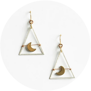 Mini Moon Dance Earrings //  Antique Silver