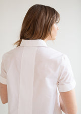 The Cotton Plisse Bib Blouse