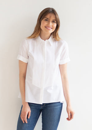 The Cotton Plissé Bib Blouse