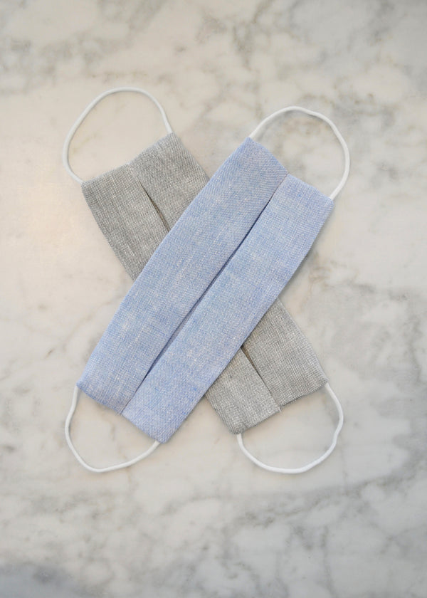 Linen Face Mask (2 pack) - Blue & Grey Chambray