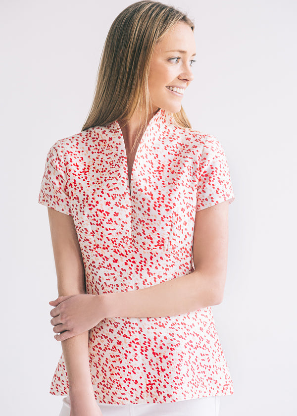 The Raspberry Confetti Regal Collar Top