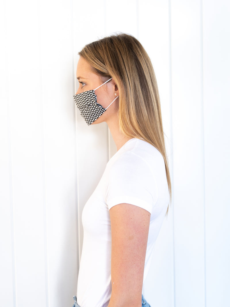 Cotton Face Mask (2 pack) - Black & Brown Geometric