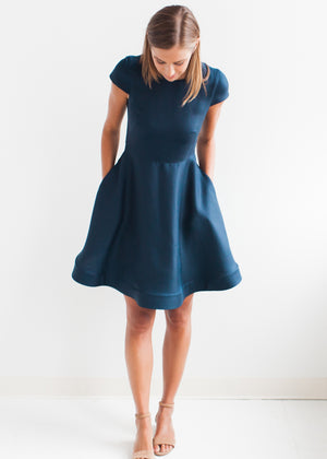 Crewneck Circle-Skirt Dress