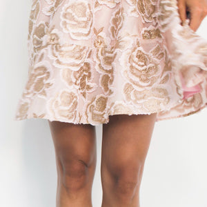 Floral Embroidered Lace - Blush/Champagne