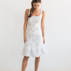 Floral Embroidered Lace - White/Silver