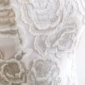 Floral Embroidery Lace - White/Silver