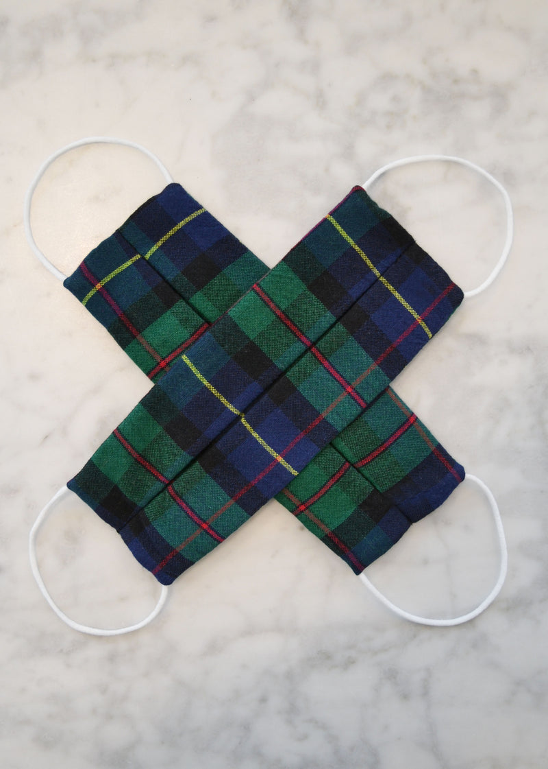 Cotton Face Mask (2 pack) - Holiday Green Tartan Plaid