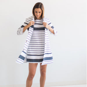Navy & White Striped Rafia