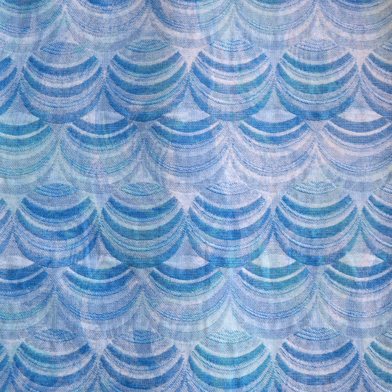 Blue & Teal Scallop Jacquard
