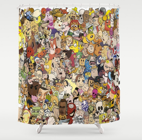 The Cartoon Collage Shower Curtain