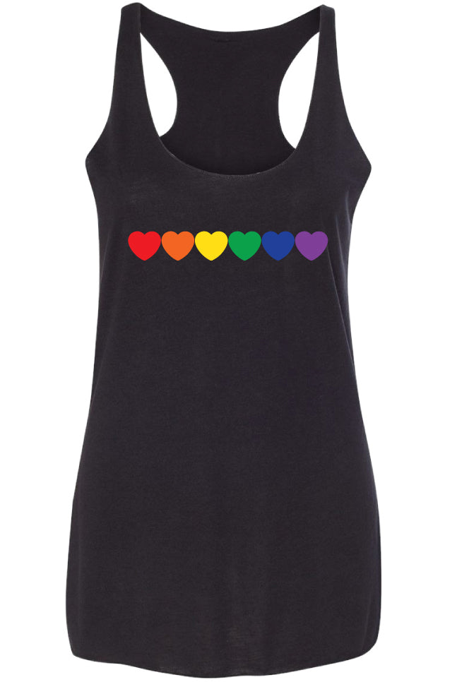 Rainbow Hearts Racerback Tank Top