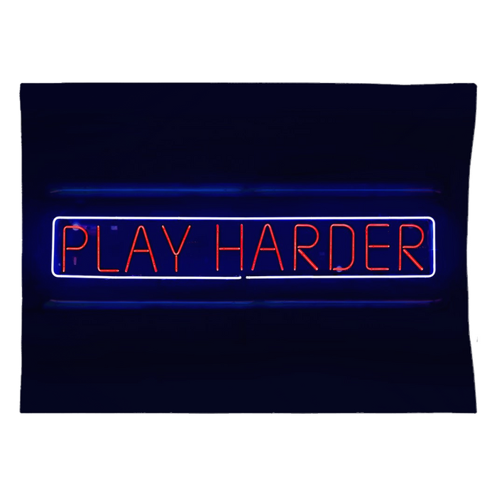 Neon Play Harder Tapestry
