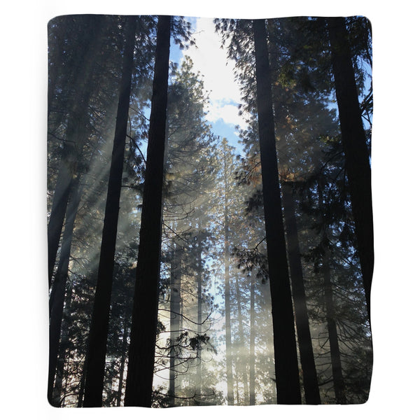 Light Through forest trees cozy Blanket