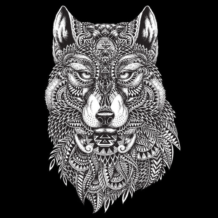 Tribal Wolf Tapestry