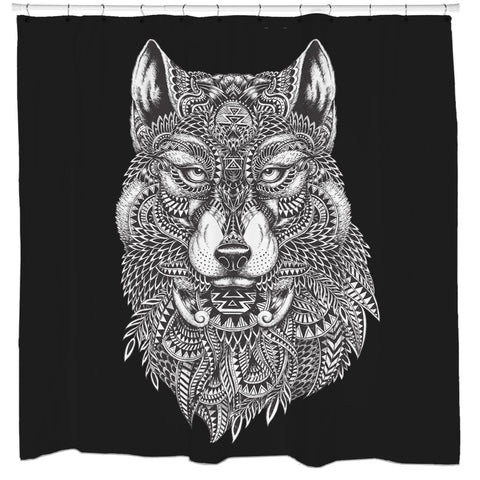 Tribal Wolf Shower Curtain ...