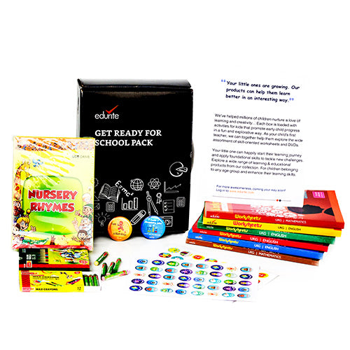 Edurite Get Ready for School Pack (Bundle) for Montessori Kindergarten - A Gift box of 6 Books & English Rhymes (DVD), Colouring Kit, Badges and Stickers