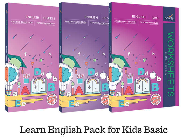 Edurite Learn English Pack for Kids Basic (3 Book Combo, Ideal for Age 3- 6)