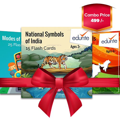 Edurite General Knowledge Flash Cards Combo (States & their capitals, Modes of Transport & Indian National Symbols)