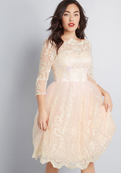 chi chi london gilded grace lace dress in blush