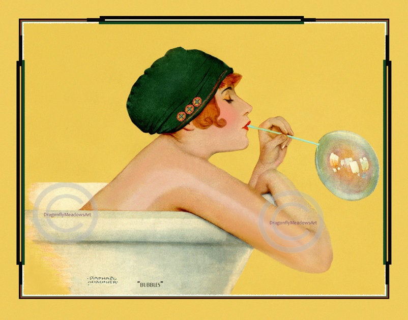 art deco bathroom art