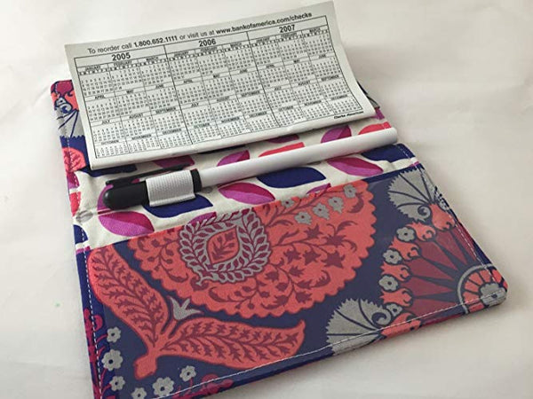 checkbook with pen holder
