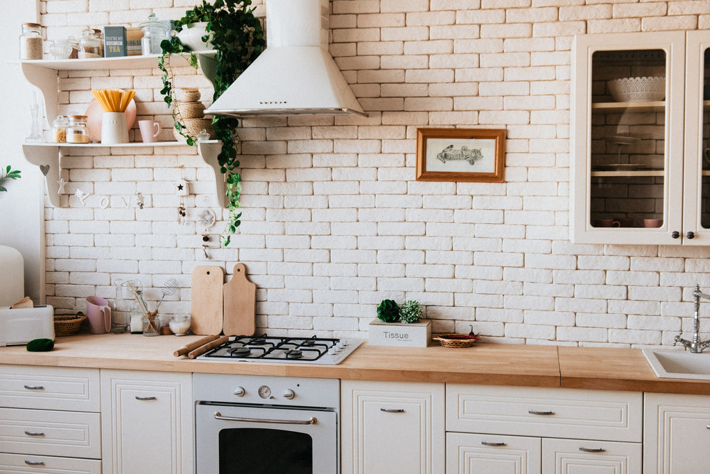 how to decorate kitchen walls with brick