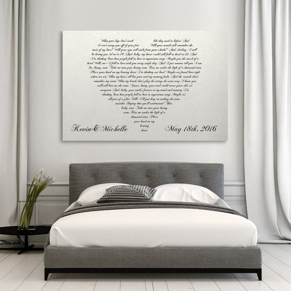 lyrics in a heart canvas
