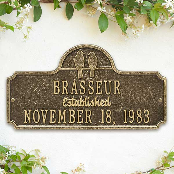 personalized anniversary aluminum plaque