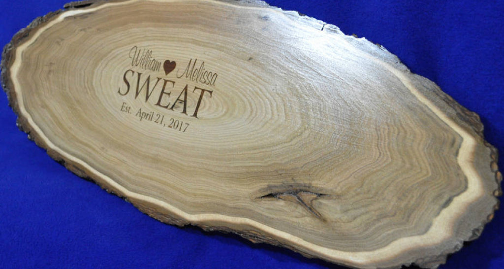 Engraved Wood Stump Wooden Wedding Guest Book