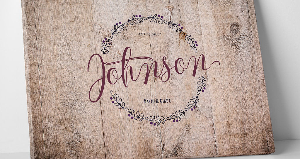 Personalized Rustic Canvas Wedding Guest Book Idea
