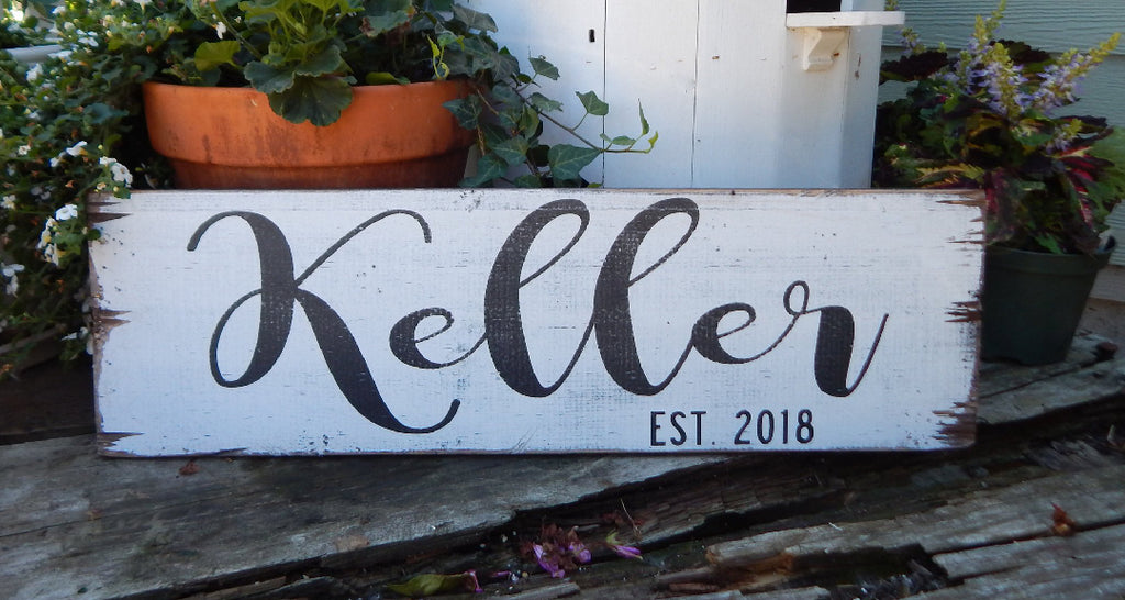 Rustic Last Name Sign