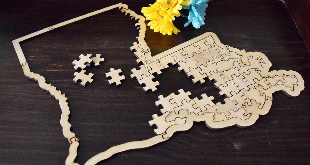 State Puzzle Wedding Guest Book