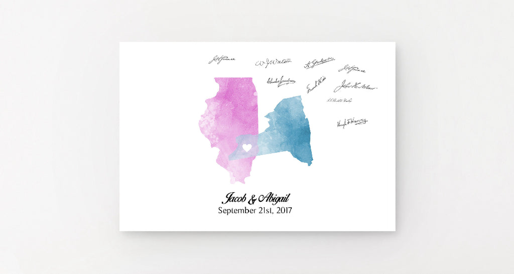 Watercolor State Wedding Guest Book Alternative