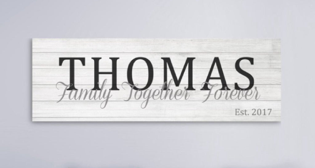 Wooden Last Name Canvas Sign