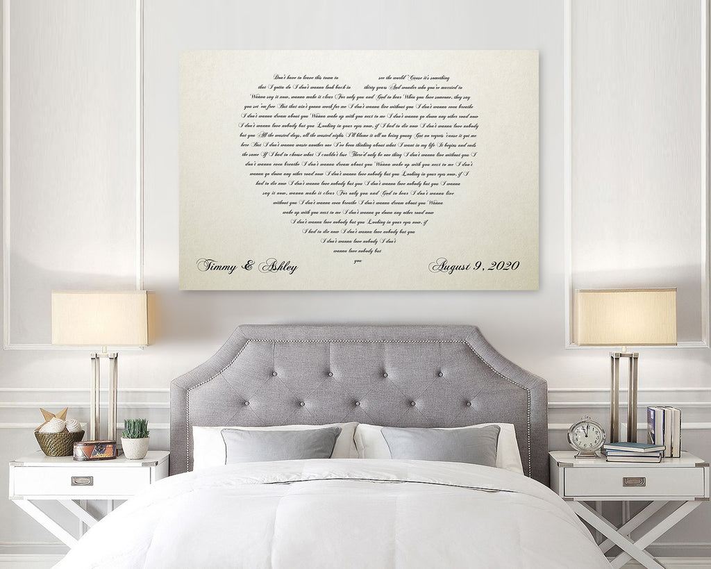 Ivory Heart Words Canvas
