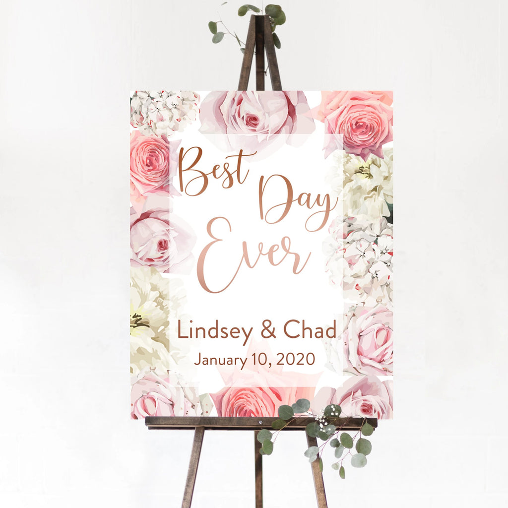 Best Day Ever - Vertical Wedding Welcome Sign