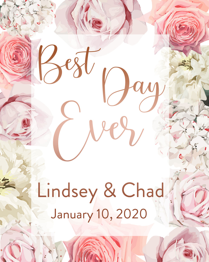 Best Day Ever - Vertical Wedding Welcome Sign 1