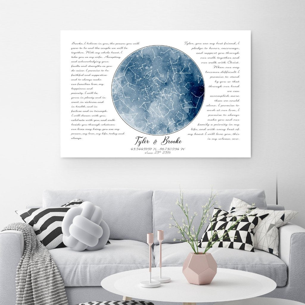 Blue Watercolor Custom Star Map