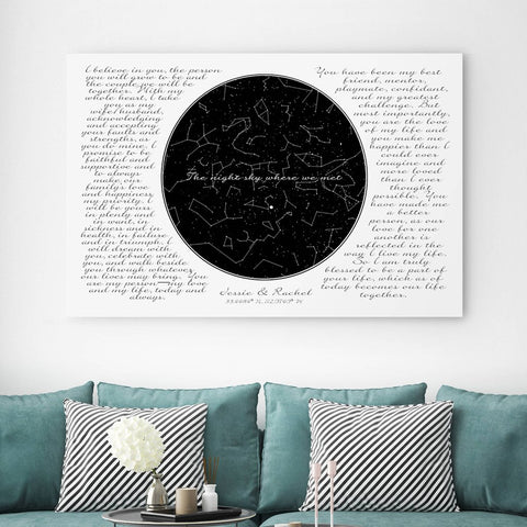 His And Her Vows On Canvas - Personalized Wall Art
