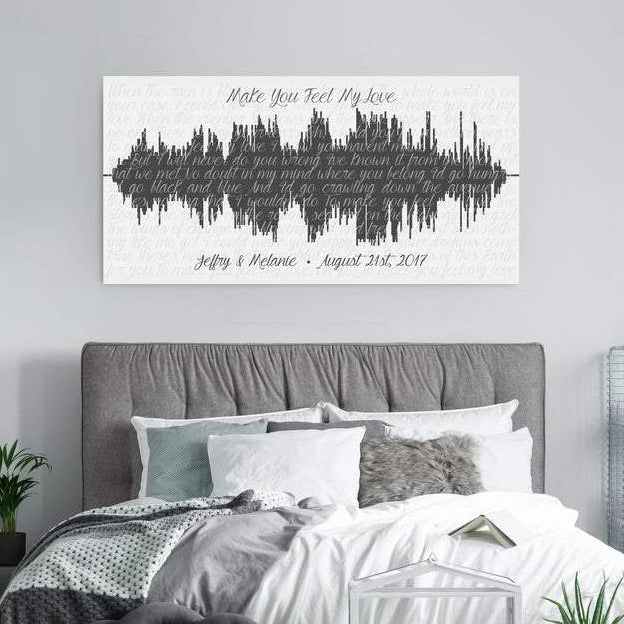 This is a personalized sound wave with lyrics design. Also includes names and wedding date.