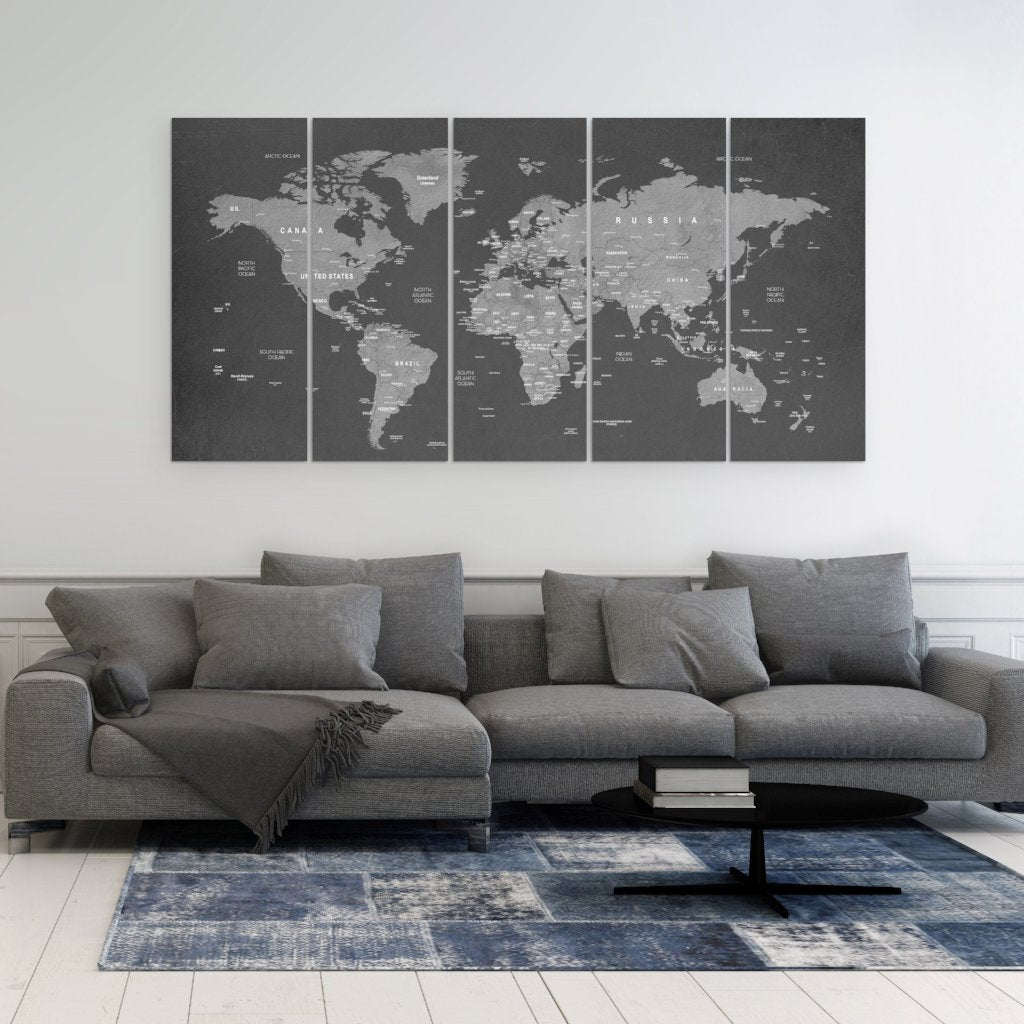 World Map Canvas Art - 5 Piece Art