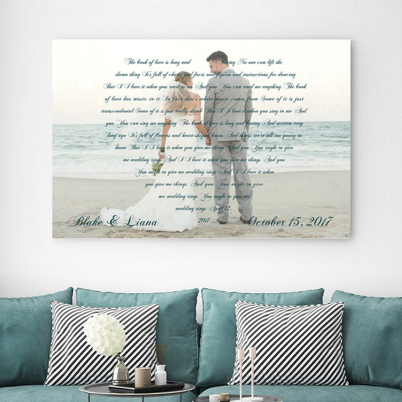A personalized canvas with a photo in the background with a heart shape outline of words. This personalized design can include vows, lyrics, a poem, or a special note.