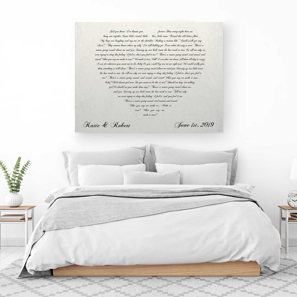 lyrics heart canvas print